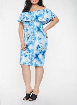 Plus Size Printed Off the Shoulder Midi Dress - BABY BLUE - 0390073372278