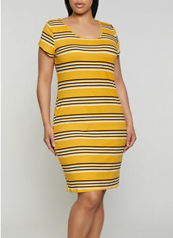 Plus Size Striped Soft Knit T Shirt Dress | 0390073372301 - 0390073372301