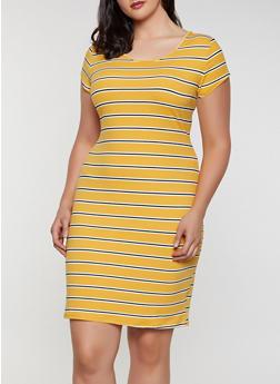 Plus Size Soft Knit T Shirt Dress   0390073372304 - 0390073372304
