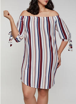 Plus Size Tie Sleeve Off the Shoulder Dress | 0390073372306 - 0390073372306