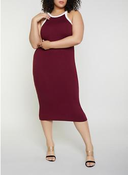 Plus Size Contrast Trim Tank Dress | 0390073372401 - 0390073372401