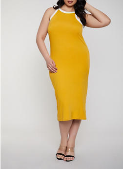 Plus Size Contrast Trim Tank Dress | 0390073372401 - 0390073372401