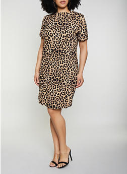Plus Size Soft Knit Leopard T Shirt Dress - 0390073372601