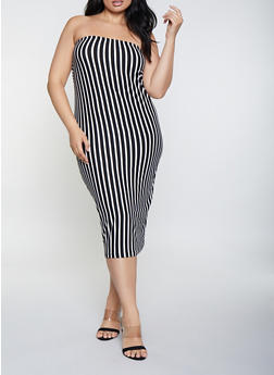 Plus Size Striped Soft Knit Tube Dress - Black - Size 2X - 0390073372705