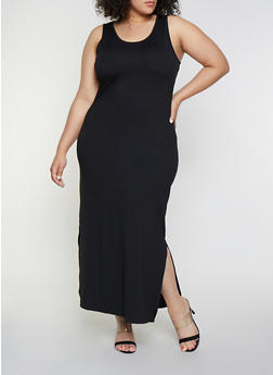 Plus Size Long Black Knit Dress
