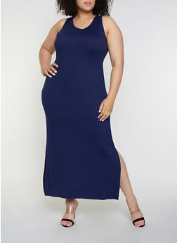 Plus Size Side Slit Tank Maxi Dress - 0390073372706