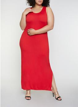 Plus Size Side Slit Tank Maxi Dress - 0390073372706