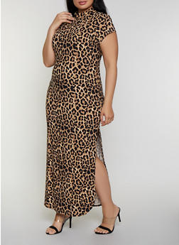 Plus Size Leopard Mock Neck Maxi Dress - 0390073372801