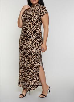 Plus Size Leopard Mock Neck Maxi Dress - 0390073372801
