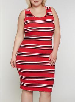 Plus Size Striped Tank Dress   0390073372901 - 0390073372901
