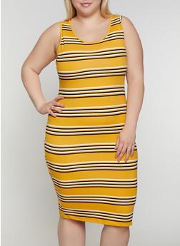 Plus Size Striped Tank Dress | 0390073372901 - 0390073372901