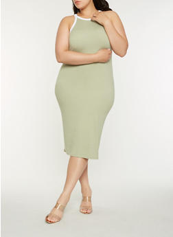 Plus Size Contrast Trim Midi Tank Dress - 0390073374612