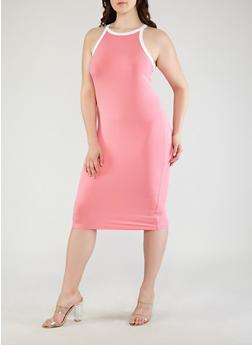 Plus Size Contrast Trim Midi Tank Dress - 0390073374612