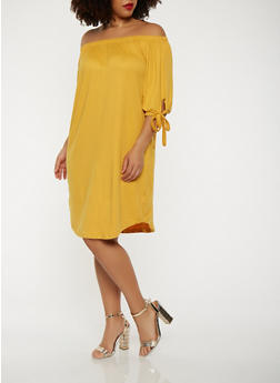 Plus Size Solid Off the Shoulder Dress - 0390073374660
