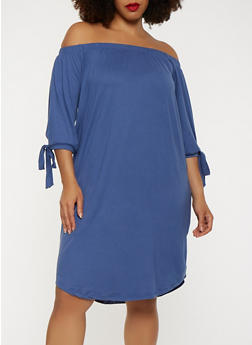 Plus Size Solid Off the Shoulder Dress - 0390073374660