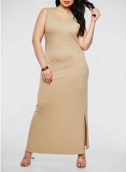 Plus Size Soft Knit Tank Maxi Dress - 0390073374910