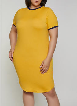 Plus Size Contrast Trim T Shirt Dress - 0390073377970