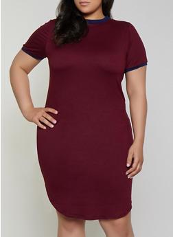 Plus Size Contrast Trim T Shirt Dress - 0390073377970