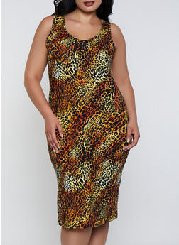 Plus Size Cheetah Print Tank Dress - 0390073378106