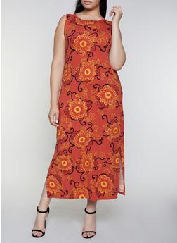 Plus Size Floral Soft Knit Tank Dress - 0390073378706