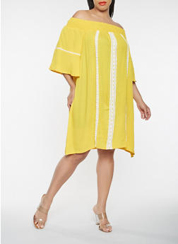 Plus Size Off the Shoulder Crochet Trim Dress - 0390074011029