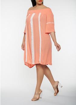 Plus Size Off the Shoulder Crochet Trim Dress - 0390074011029