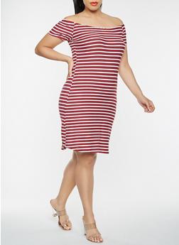 Plus Size Off the Shoulder Striped Dress - WINE - 0390074011265