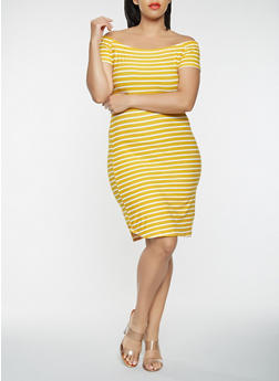 Plus Size Off the Shoulder Striped Dress - 0390074011265