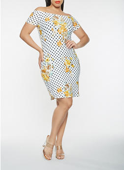 Plus Size Printed Off the Shoulder Dress - 0390074011614