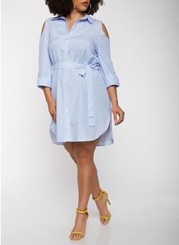Plus Size Cold Shoulder Shirt Dress - 0390074280152