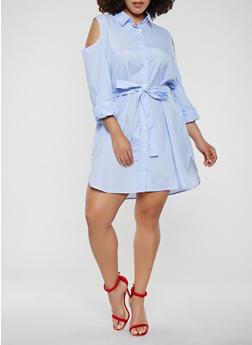 Plus Size Cold Shoulder Button Front Shirt Dress - 0390074280154