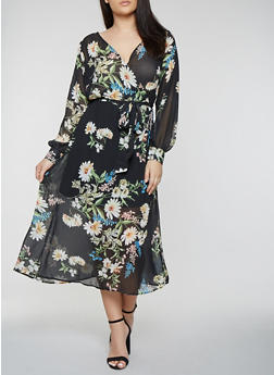 Plus Size Faux Wrap Maxi Dress with Long Sleeves - 0390074280156