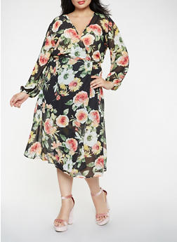 Plus Size Floral Wrap Midi Dress - 0390074280157