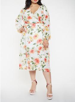 Plus Size Floral Wrap Midi Dress - 0390074280157