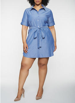 Plus Size Short Sleeve Shirt Dress - 0390074280160