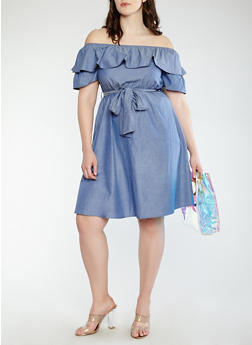 Plus Size Chambray Off the Shoulder Dress - 0390074280161