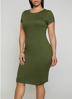 Plus Size Soft Knit Bodycon T Shirt Dress - 0390074281177