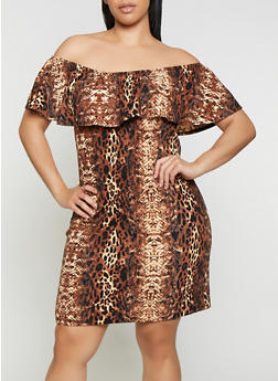 Plus Size Off the Shoulder Animal Print Dress - 0390074281179