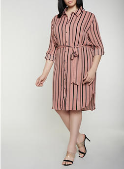 Plus Size Striped Shirt Dress | 0390074281187 - Pink - Size 2X - 0390074281187