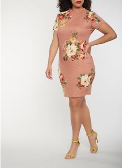Plus Size Floral Bodycon Midi Dress - 0390074281507
