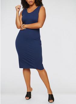 Plus Size Tank Dress - NAVY - 0390074281510