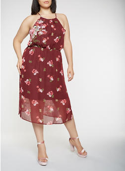 Plus Size Printed Chiffon Dress - 0390074281904