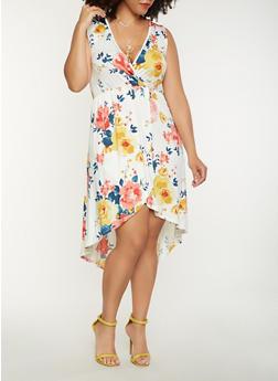 Plus Size Floral High Low Dress - 0390074281918