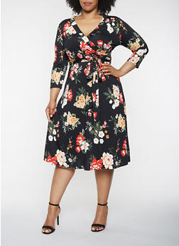 Plus Size Faux Wrap Floral Dress with Sleeves - 0390074283103