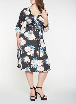 Plus Size Floral Faux Wrap Midi Dress - 0390074283104