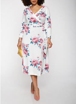 Plus Size Floral Faux Wrap Dress with Sleeves - 0390074283105