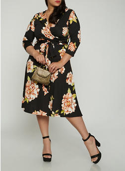 Plus Size Floral Faux Wrap Midi Dress with Sleeves - 0390074283106