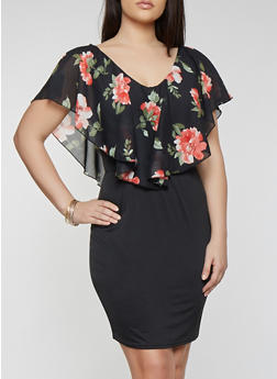 Plus Size Floral Overlay Dress - 0390074283571