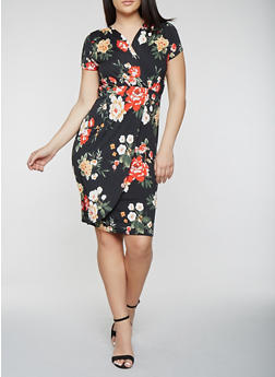 Plus Size Short Sleeve Floral Midi Dress - 0390074283572