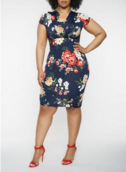 Plus Size Floral Faux Wrap Dress - 0390074283573